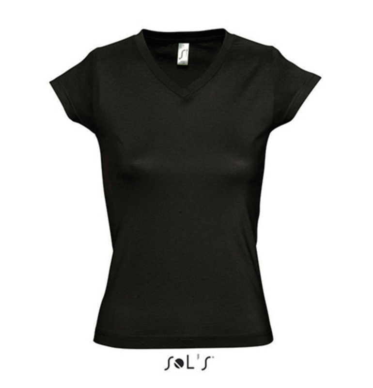 Women T-shirt V-hals - Deep Black