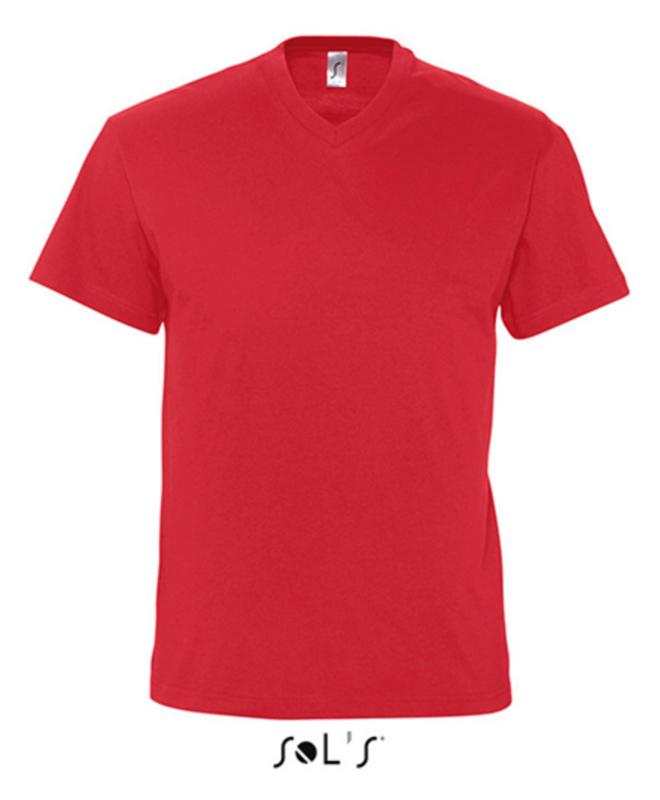Men T-shirt V-hals - Red