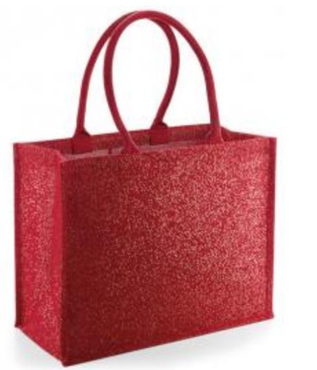 Shimmer Jute Shopper - RED Gold
