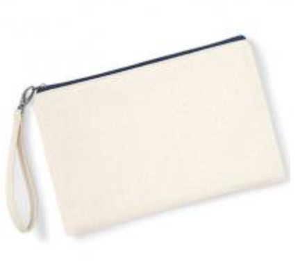 Canvas Wristlet - Natural/Navy