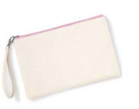 Canvas Wristlet - Natural/Pink