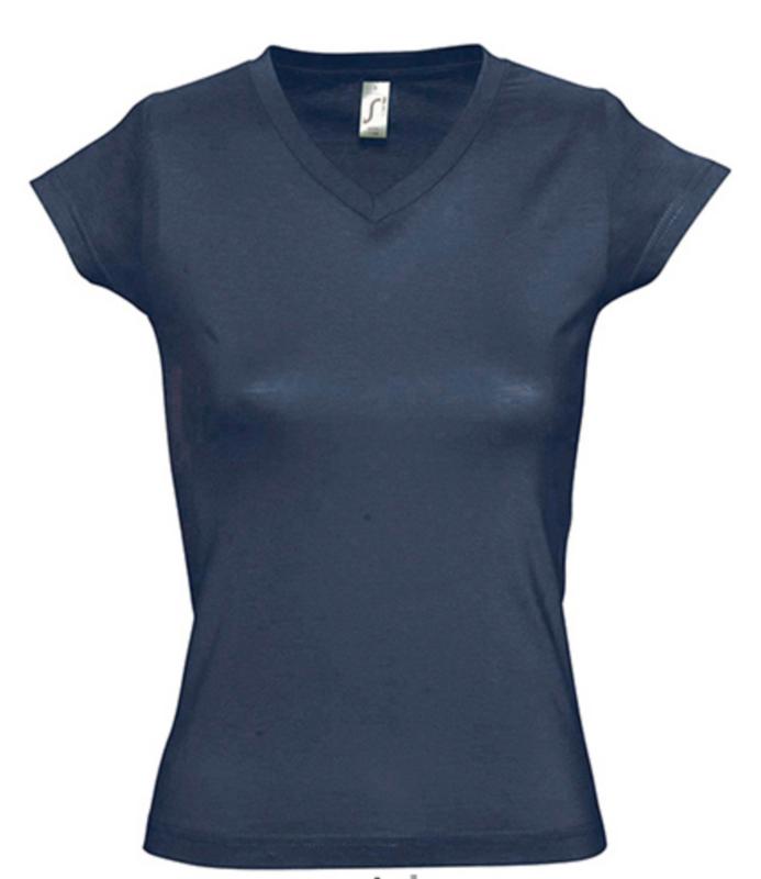 Women T-shirt V-hals - Denim
