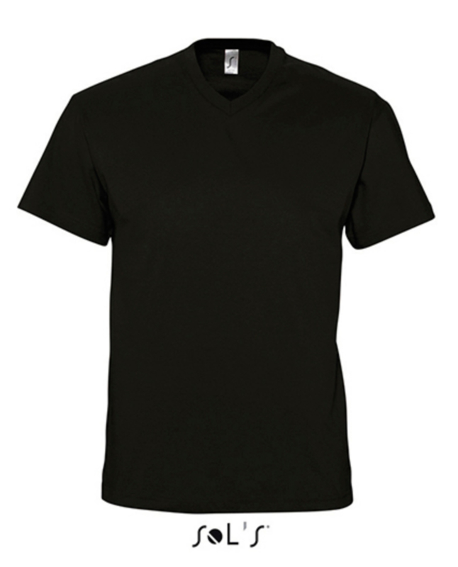 Men T-shirt V-hals - Deep Black