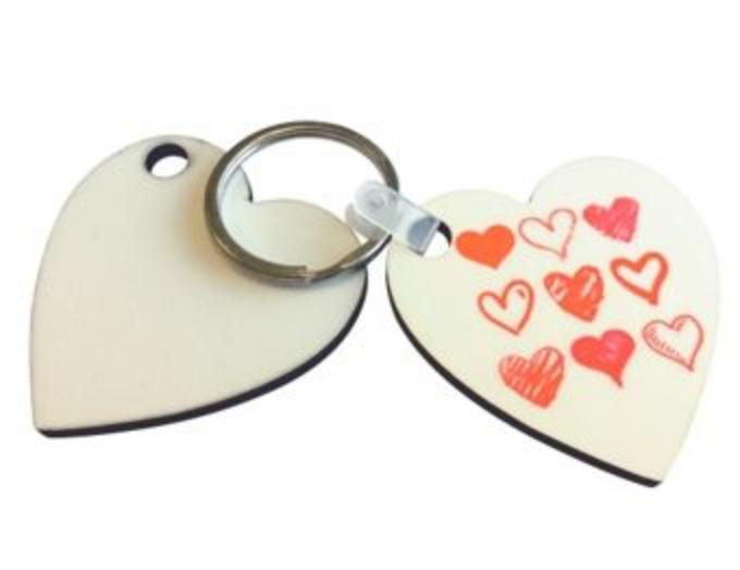 Sublimatie - MDF Key Ring Heart (5stuks)