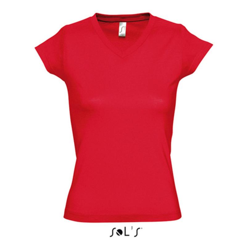 Women T-shirt V-hals - Red