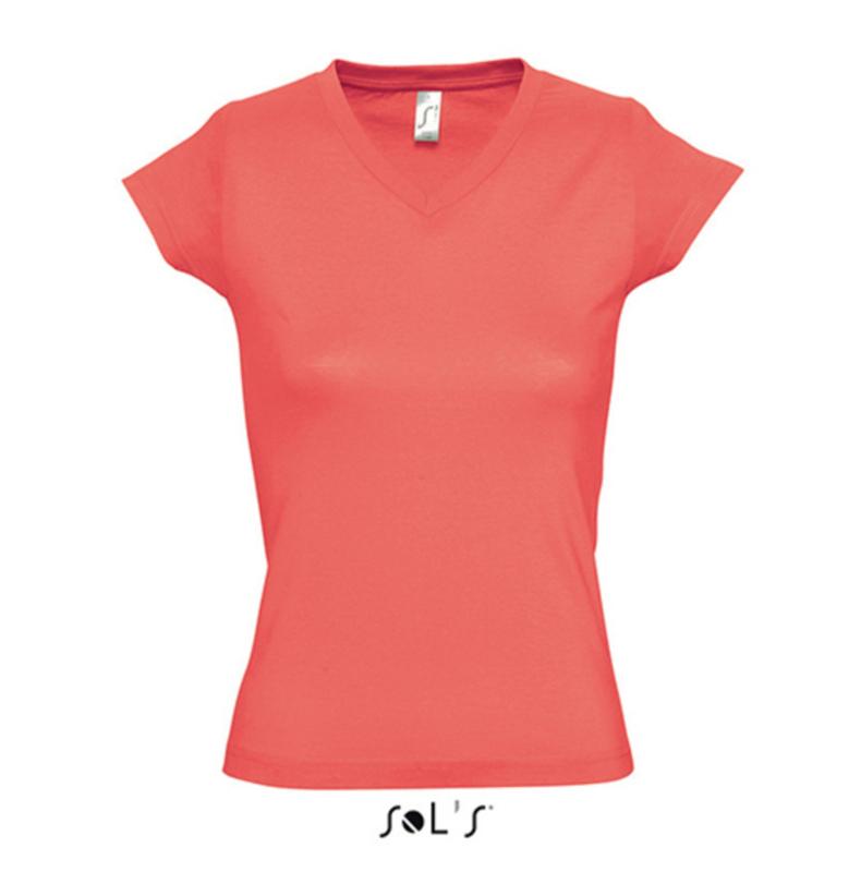 Women T-shirt V-hals - Coral