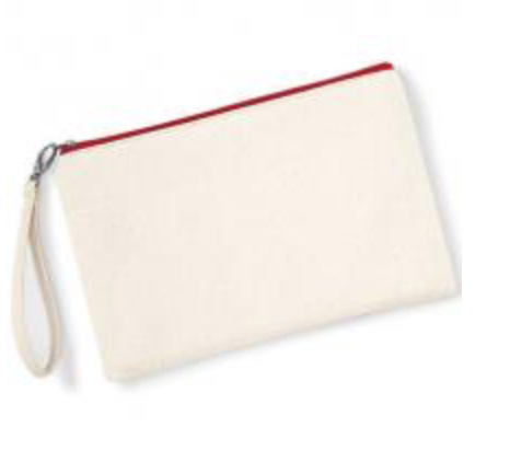 Canvas Wristlet - Natural/Red
