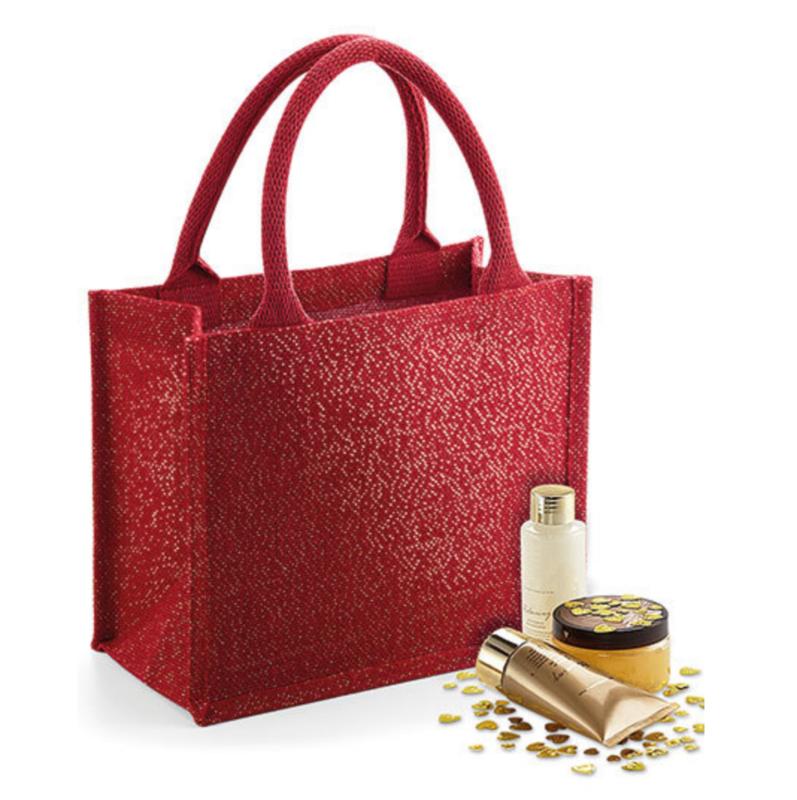 Shimmer Jute Mini Gift Bag - RED Gold