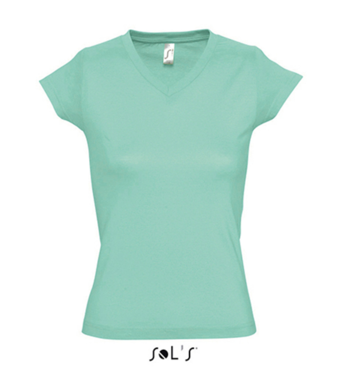 Women T-shirt V-hals - Mint
