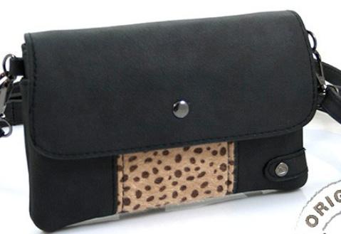Tasje zwart met cheetah naturel