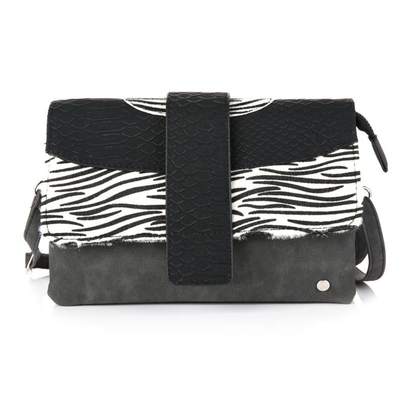 Sunset schoudertas zwart/wit zebra