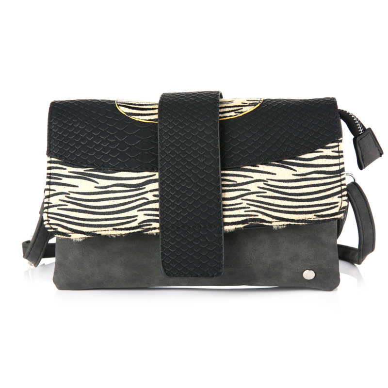Sunset schoudertas zwart/beige zebra