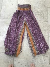 Zijden  Harembroek Golden Purple