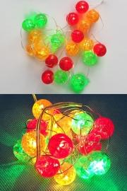 Led verlichting snoer  bolletjes groen geel  rood