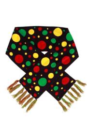 Sjaal rood/geel/groen confetti