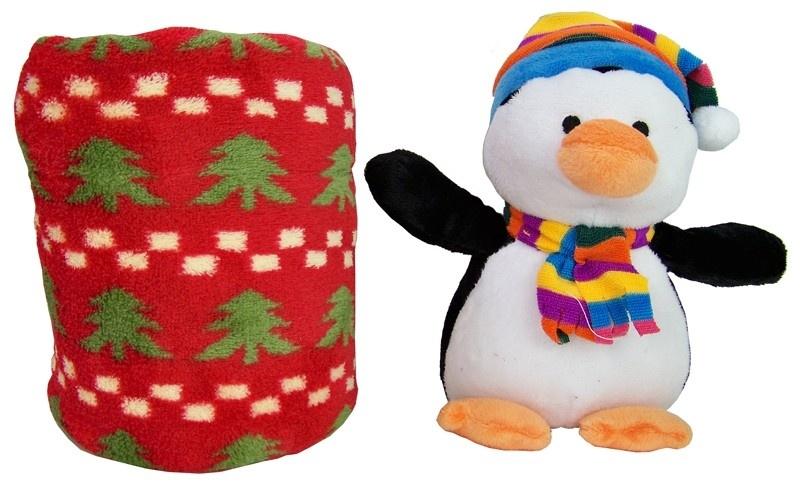 Pluche pinguin met kertsdeken