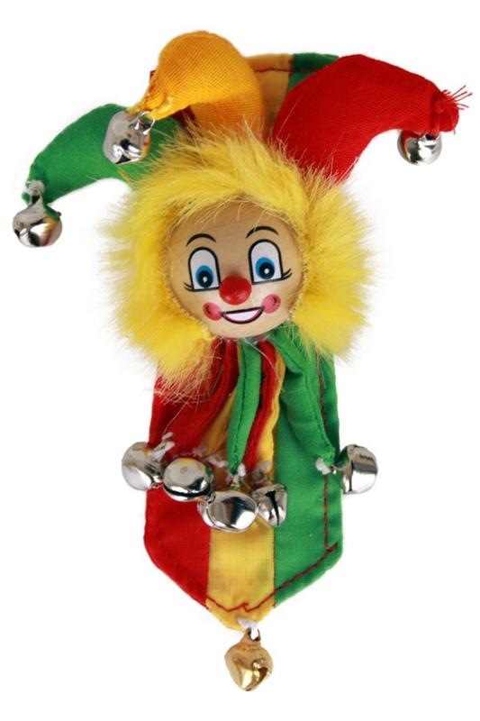 Clown met narrenhoed roodgeelgroen