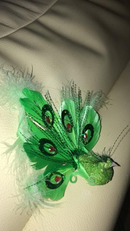 Broche pauw groen