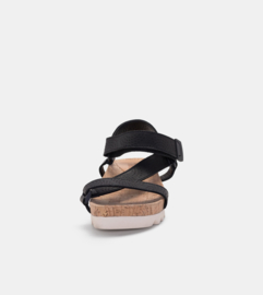 Sandal Slide Tooth Wedge Strap Black