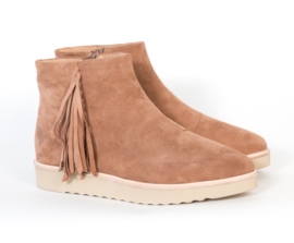 Madison Wedge Fringe Bootie Cognac