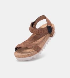 Sandal Slide Tooth Wedge Strap Tan Burnish