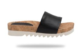 Sandal Slide Tooth Wedge Cork Black