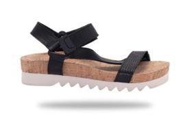 Sandal Slide Tooth Wedge Strap Black