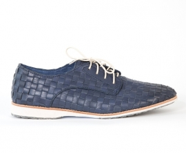 Derby Woven Navy Leather