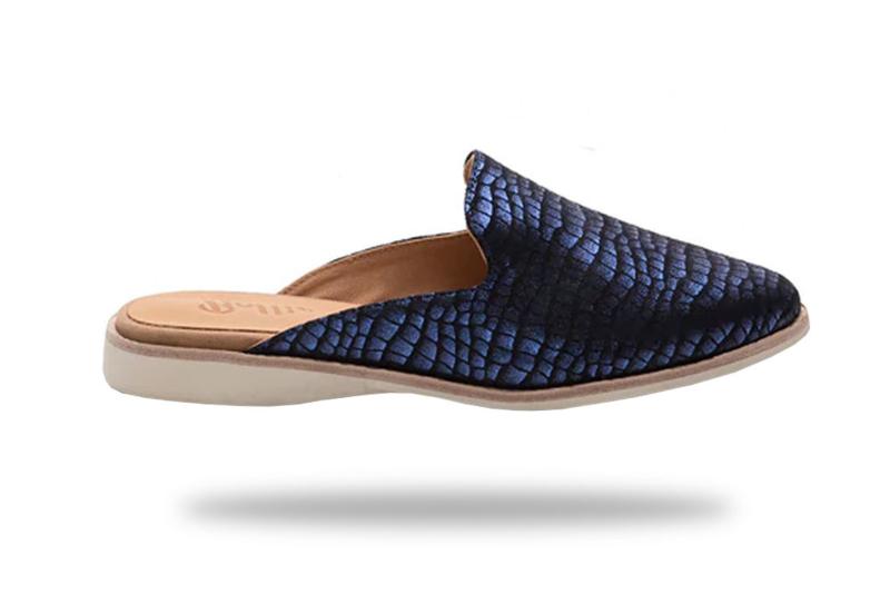 Madison Mule Navy Croc Metallic