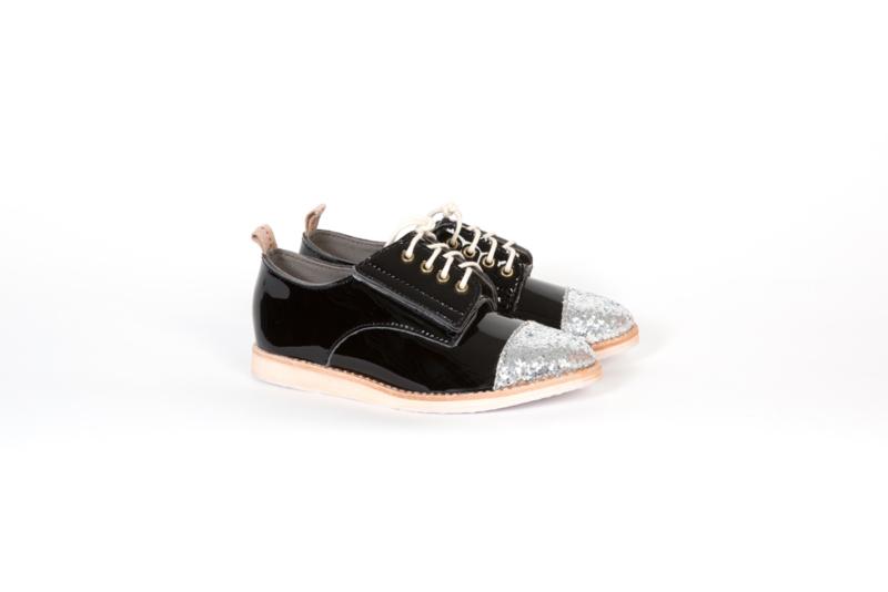 Derby Kids Black Patent/Silver Glitter toecap