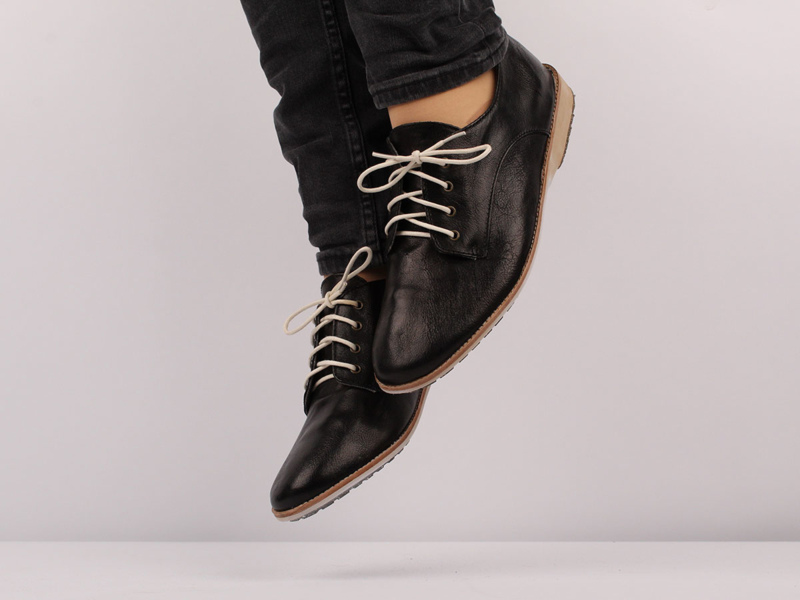 Derby Black Heavy Distressed Leather