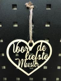 Houten hanger hartje Lieve meester