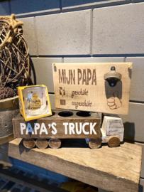 Papa's truck + tekstbordje mijn papa + glas Papa