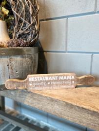 Tekstbord deegroller restaurant mama natural