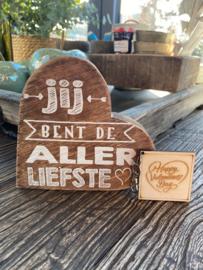Cadeaupakket teksthart natural allerliefste + houten sleutelhanger Happy Valentinesday