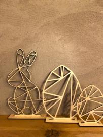 Paasdecoratie 2 x paasei-1x paashaas houtkleur