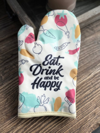 """Ovenhandschoen met de tekst """"Eat drink and be happy"""""""
