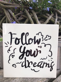 Tegeltje met tekst Follow your dreams