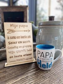 Cadeaupakket Mijn papa tekstbordje + Mok papa Held
