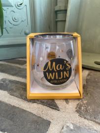 Wijn-waterglas met tekst MA'S WIJN AFBLIJVEN