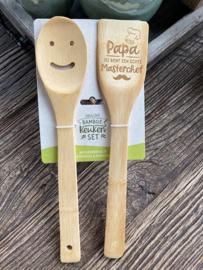 Vrolijke bamboe keukenset / Spatelset met de tekst papa