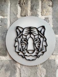Muurcirkel tijger 3D grijs