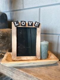 Decoratie-set houten schaal / fotolijstje LOVE / kaars