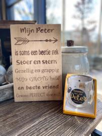 Cadeaupakket Mijn Peter (eikenhout) + waterwijnglas zwart