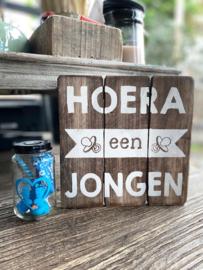 Tekstbordje Hoera een jongen + potje blauw