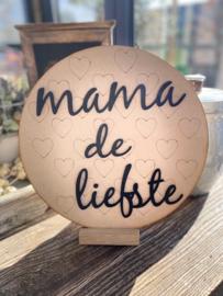 Muurcirkel van MDF met hartje en de tekst Mama de liefste 3D.