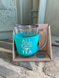 Theeglas met tekst ALL YOU NEED IS LOVE & TEA
