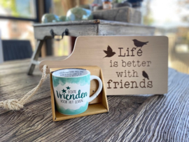 Serveerplankje Friends + mok echte vrienden