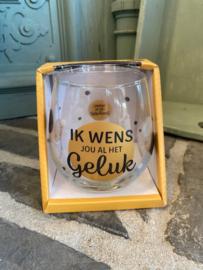 Wijn-waterglas met tekst IK WENS JOU AL HET GELUK