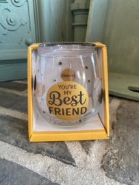 Wijn-waterglas met tekst YOU'RE MY BEST FRIEND